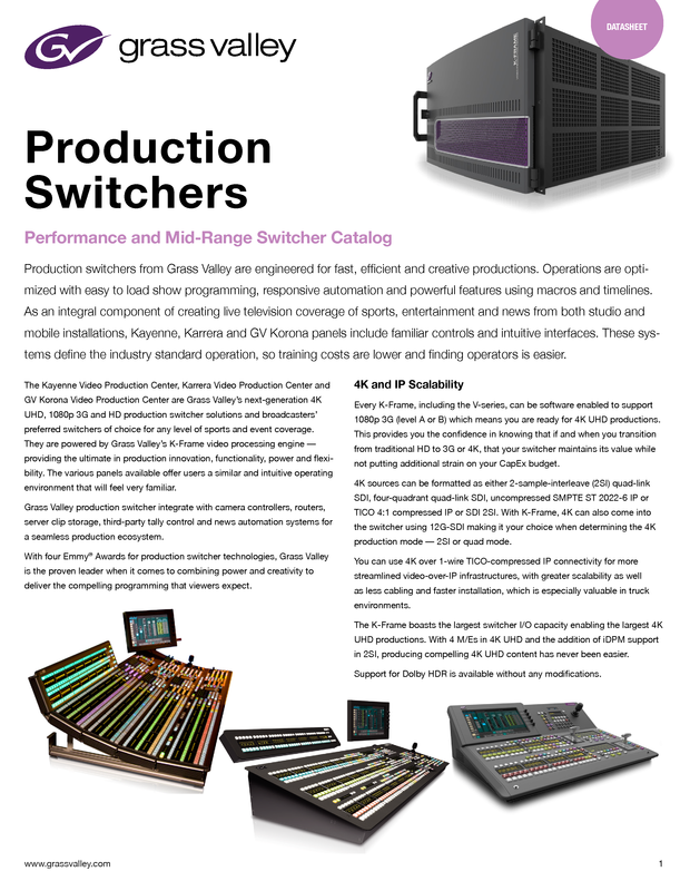 Production Switchers: Performance and Mid-Range Switcher Catalog DS-PUB-2-0572B-EN Thumbnail