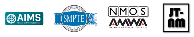 AIMS, SMPTE, NMOS and JT-NM logos