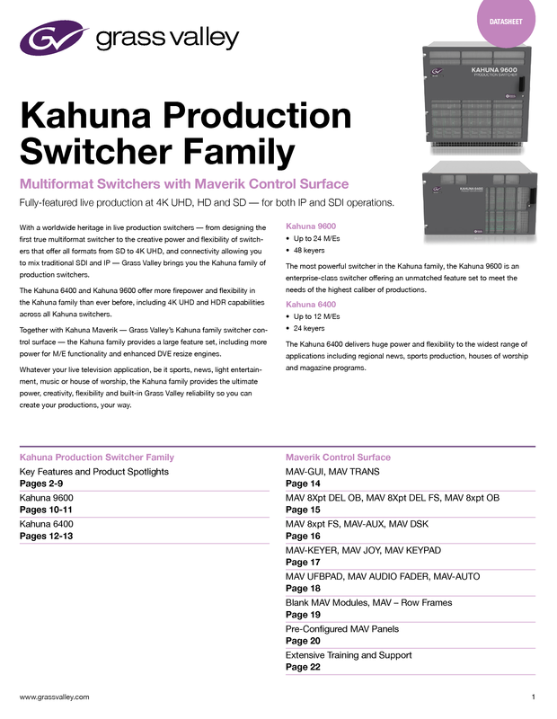 Kahuna Production Switcher Family Datasheet DS-PUB-2-0703D-EN Thumbnail